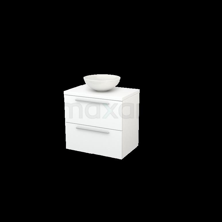Badkamermeubel voor Waskom 70cm Modulo+ Plato Mat Wit 2 Lades Vlak