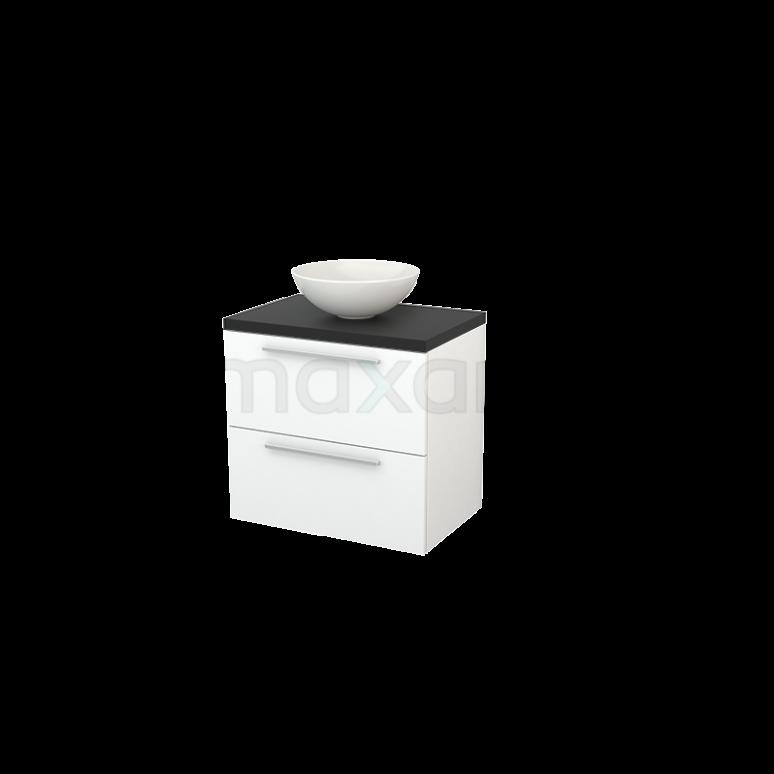 Badkamermeubel voor Waskom 70cm Mat Wit Vlak Modulo+ Plato Carbon Blad