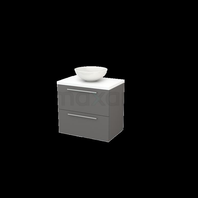 Maxaro Modulo+ Plato BMK001679 Badkamermeubel voor Waskom 70cm Basalt Vlak Modulo+ Plato Hoogglans Wit Blad