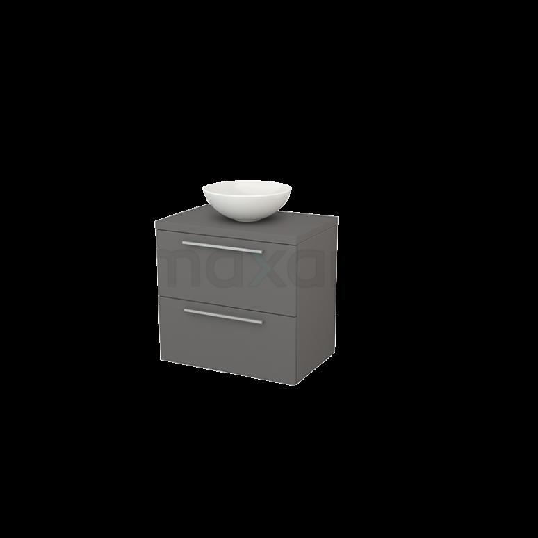 Badkamermeubel voor Waskom 70cm Modulo+ Plato Basalt 2 Lades Vlak