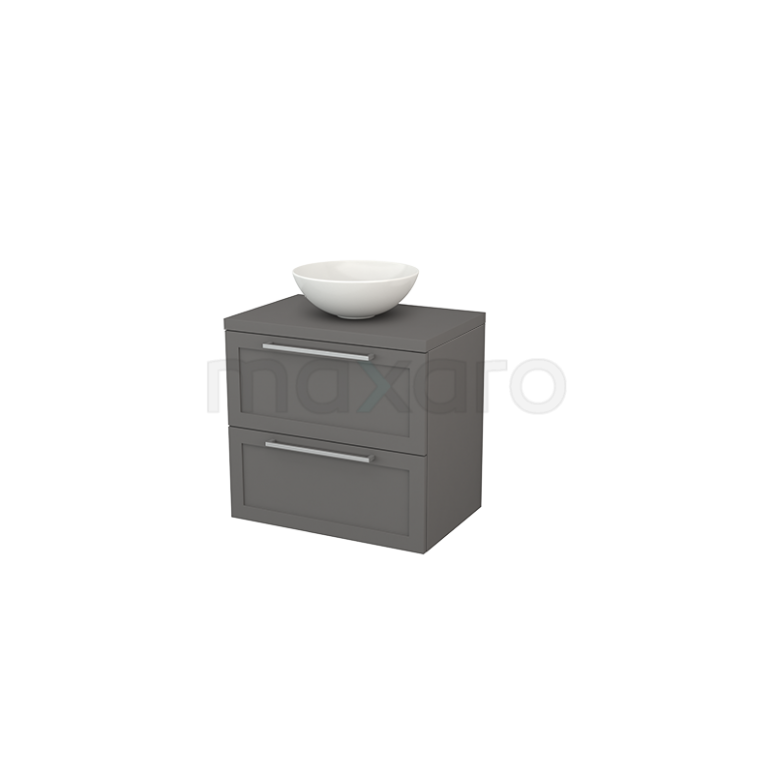 Badkamermeubel voor Waskom 70cm Modulo+ Plato Basalt 2 Lades Kader