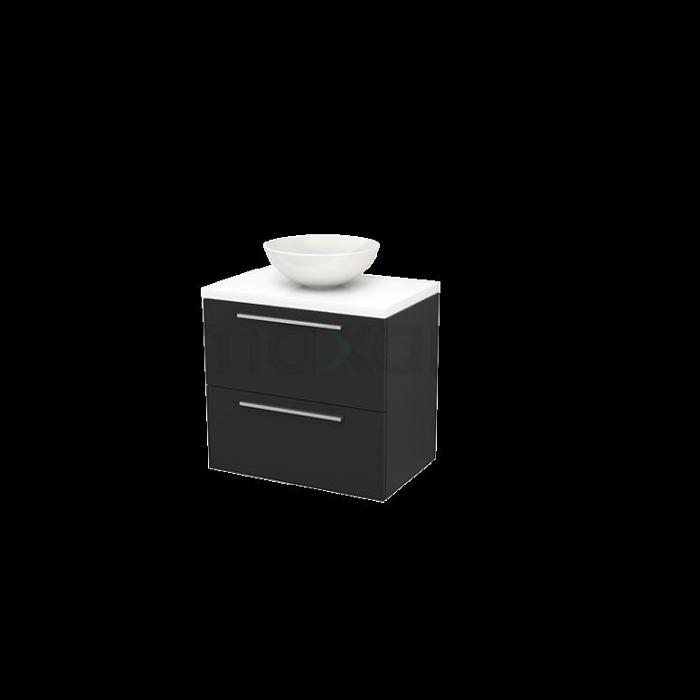 Maxaro Modulo+ Plato BMK001691 Badkamermeubel voor Waskom 70cm Carbon Vlak Modulo+ Plato Hoogglans Wit Blad