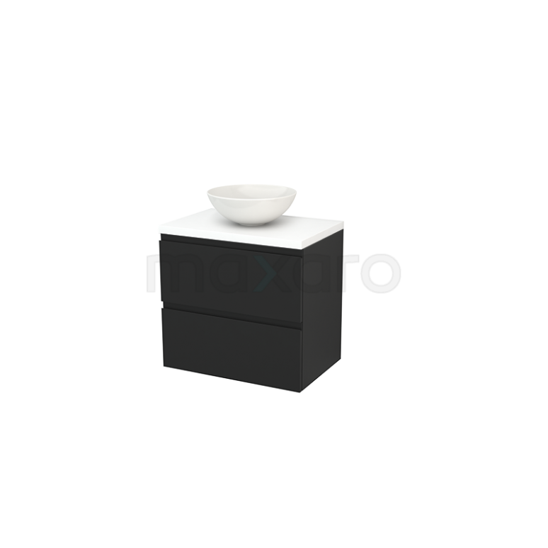Maxaro Modulo+ Plato BMK001699 Badkamermeubel voor Waskom 70cm Carbon Greeploos Modulo+ Plato Mat Wit Blad