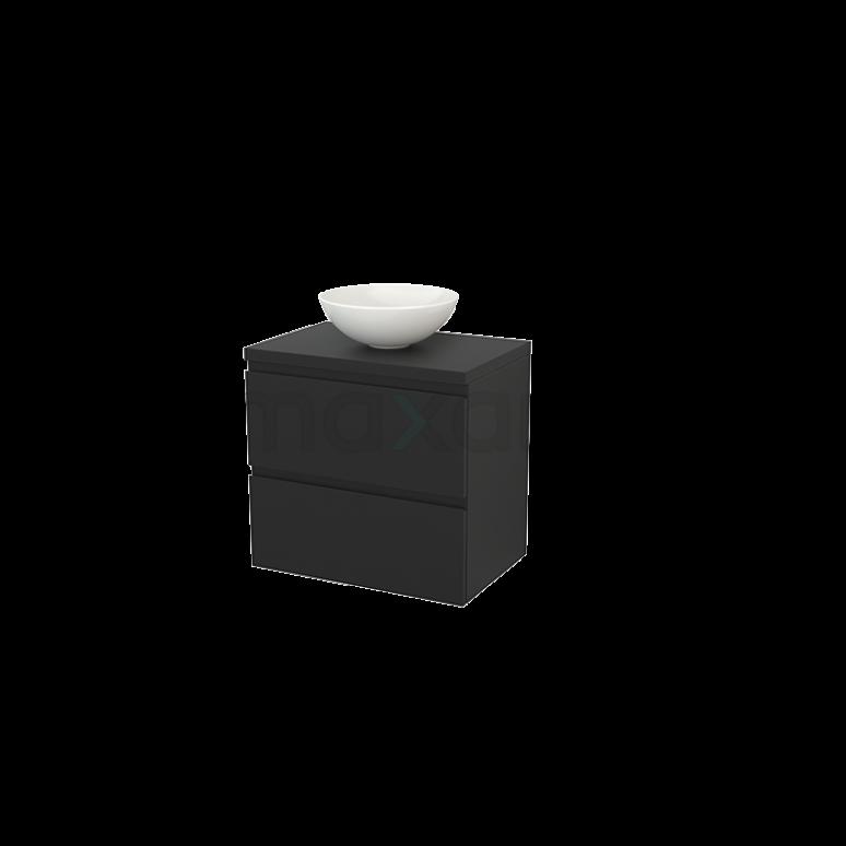 Badkamermeubel voor Waskom 70cm Modulo+ Plato Carbon 2 Lades Greeploos