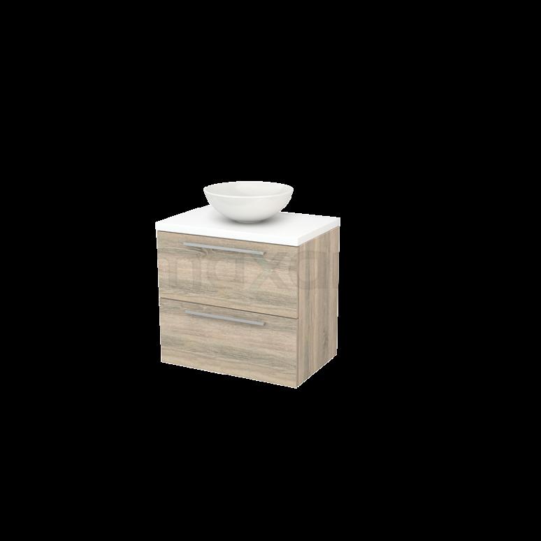 Badkamermeubel voor Waskom 70cm Eiken Vlak Modulo+ Plato Mat Wit Blad
