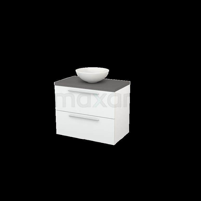 Badkamermeubel voor Waskom 80cm Hoogglans Wit Vlak Modulo+ Plato Basalt Blad