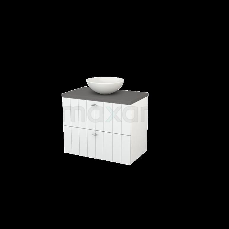 Badkamermeubel voor Waskom 80cm Hoogglans Wit Lamel Modulo+ Plato Basalt Blad