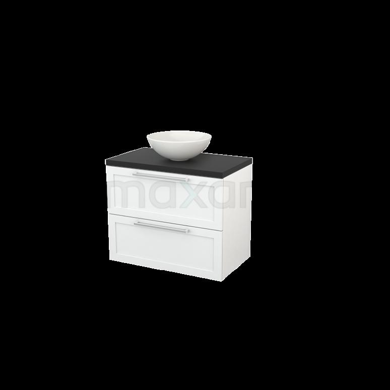 Maxaro Modulo+ Plato BMK001734 Badkamermeubel voor Waskom 80cm Hoogglans Wit Kader Modulo+ Plato Carbon Blad