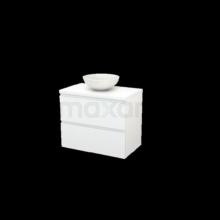 Badkamermeubel voor Waskom 80cm Modulo+ Plato Hoogglans Wit 2 Lades Greeploos