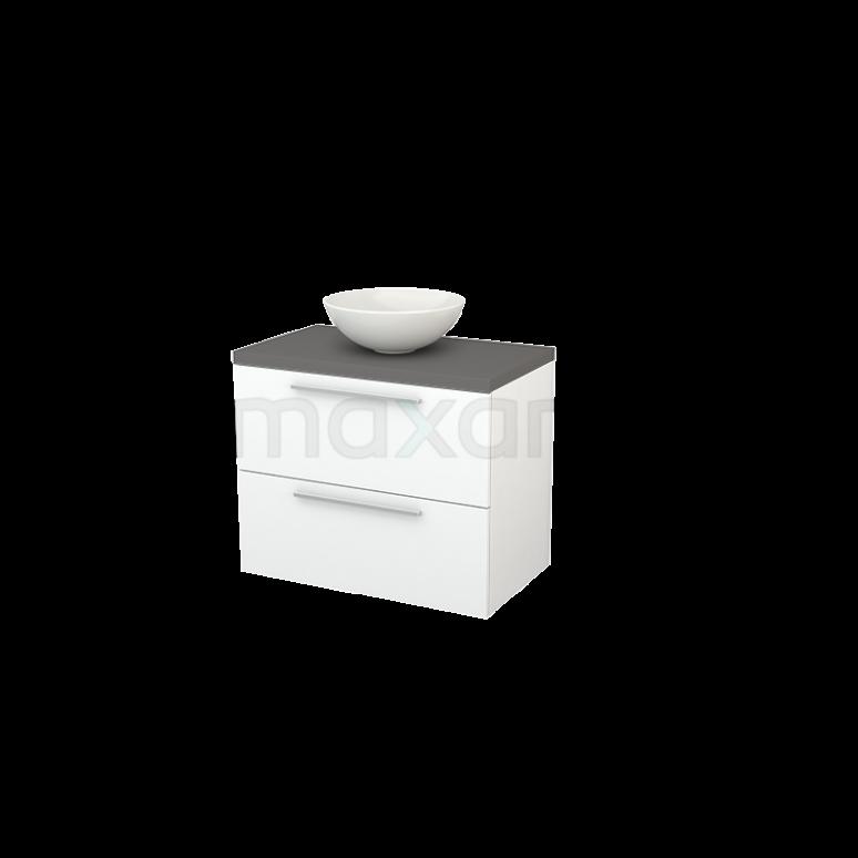 Badkamermeubel voor Waskom 80cm Mat Wit Vlak Modulo+ Plato Basalt Blad