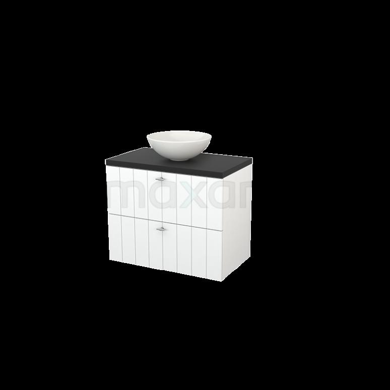 Maxaro Modulo+ Plato BMK001752 Badkamermeubel voor Waskom 80cm Mat Wit Lamel Modulo+ Plato Carbon Blad
