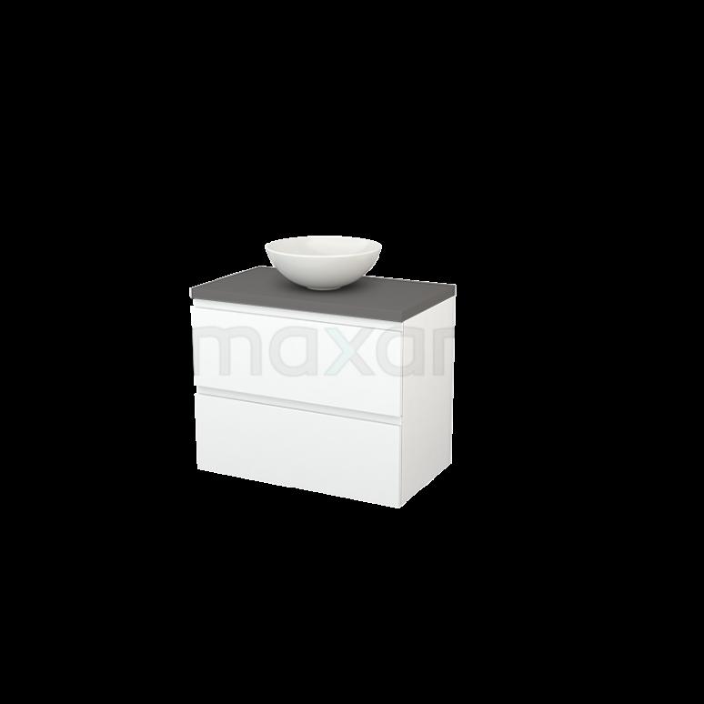 Badkamermeubel voor Waskom 80cm Mat Wit Greeploos Modulo+ Plato Basalt Blad