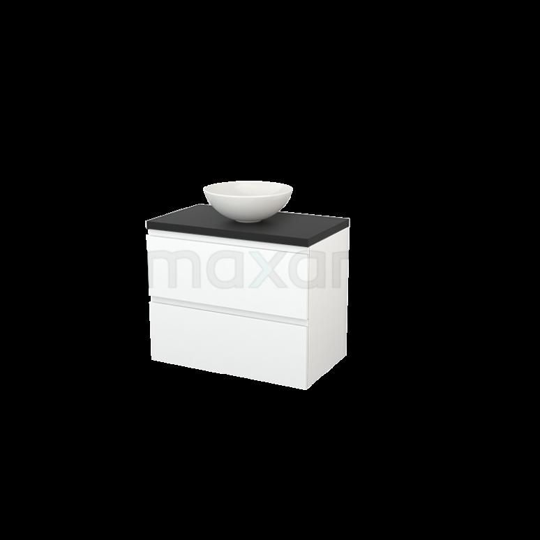 Badkamermeubel voor Waskom 80cm Mat Wit Greeploos Modulo+ Plato Carbon Blad