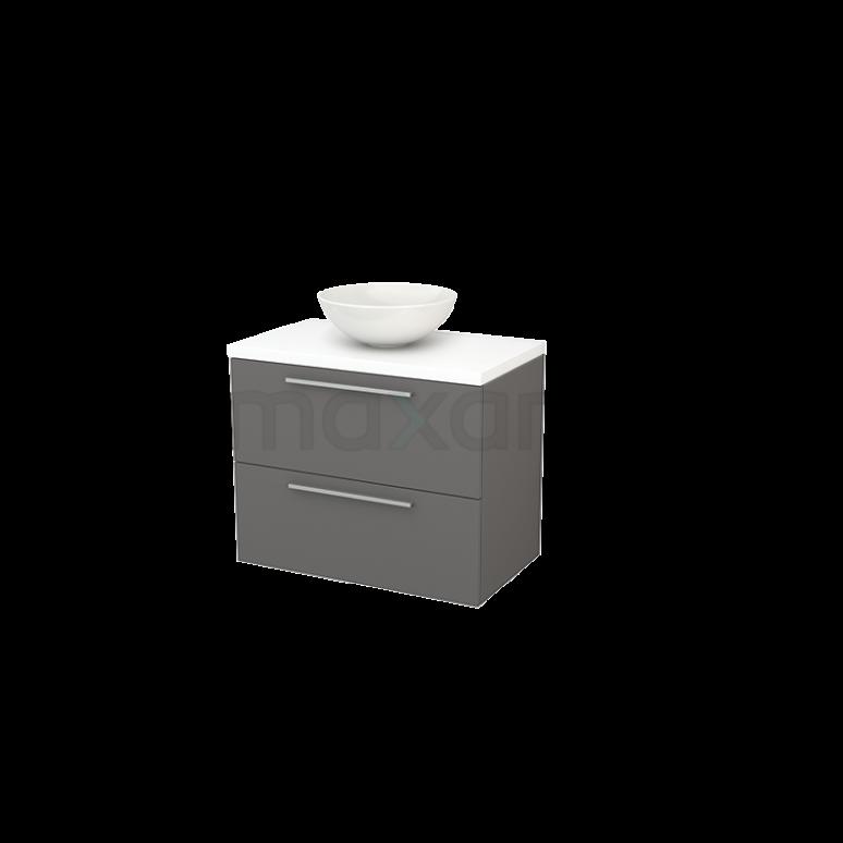 Badkamermeubel voor Waskom 80cm Basalt Vlak Modulo+ Plato Mat Wit Blad