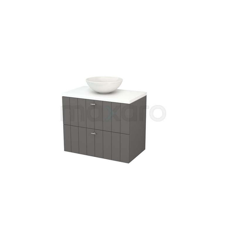 Badkamermeubel voor Waskom 80cm Basalt Lamel Modulo+ Plato Mat Wit Blad