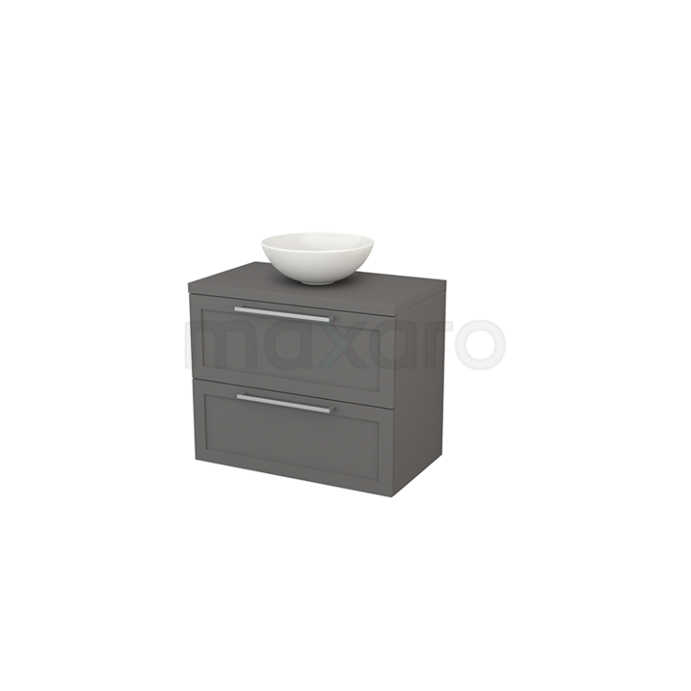 Badkamermeubel voor Waskom 80cm Modulo+ Plato Basalt 2 Lades Kader