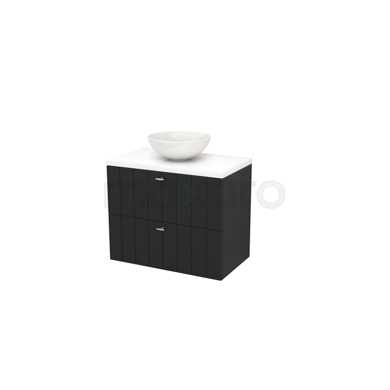 Badkamermeubel voor Waskom 80cm Carbon Lamel Modulo+ Plato Hoogglans Wit Blad