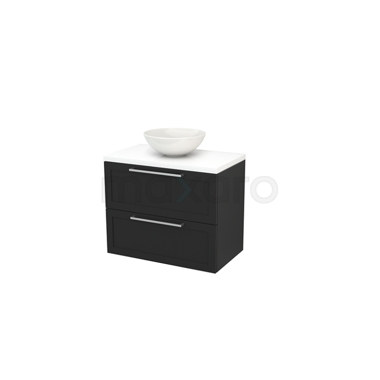 Badkamermeubel voor Waskom 80cm Carbon Kader Modulo+ Plato Hoogglans Wit Blad