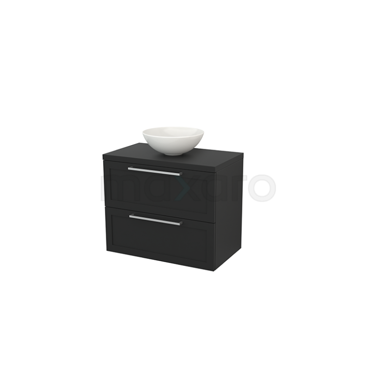 Badkamermeubel voor Waskom 80cm Modulo+ Plato Carbon 2 Lades Kader