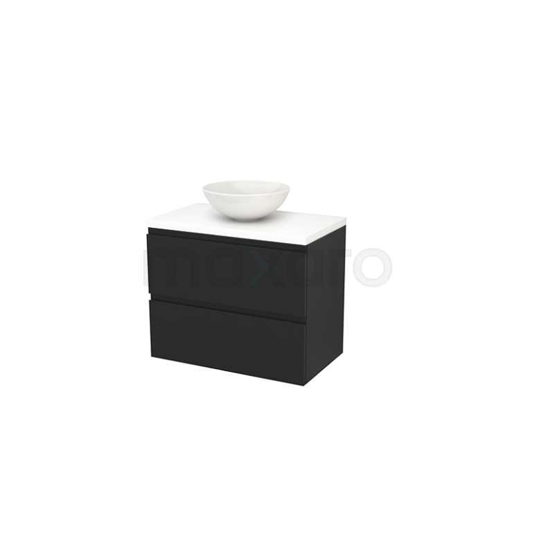 Badkamermeubel voor Waskom 80cm Carbon Greeploos Modulo+ Plato Mat Wit Blad