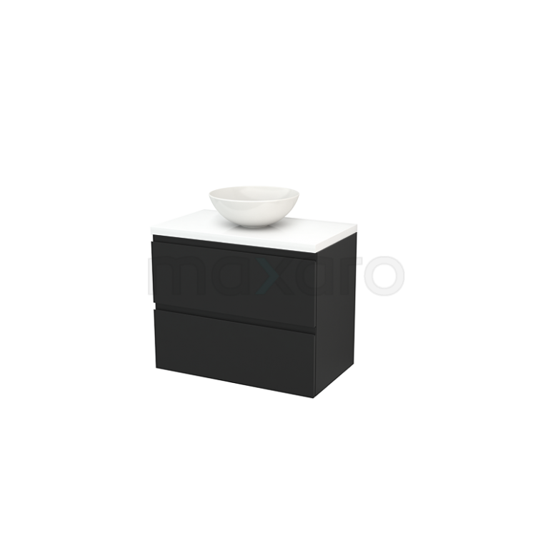 Badkamermeubel voor Waskom 80cm Carbon Greeploos Modulo+ Plato Hoogglans Wit Blad