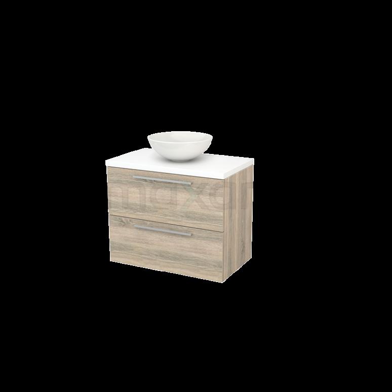 Badkamermeubel voor Waskom 80cm Eiken Vlak Modulo+ Plato Mat Wit Blad