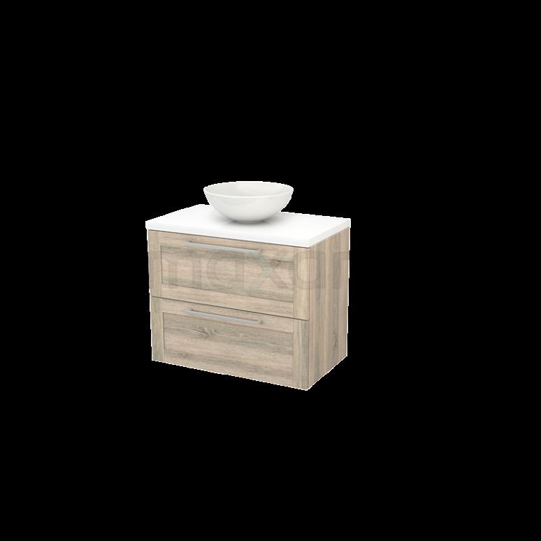 Badkamermeubel voor Waskom 80cm Eiken Kader Modulo+ Plato Hoogglans Wit Blad