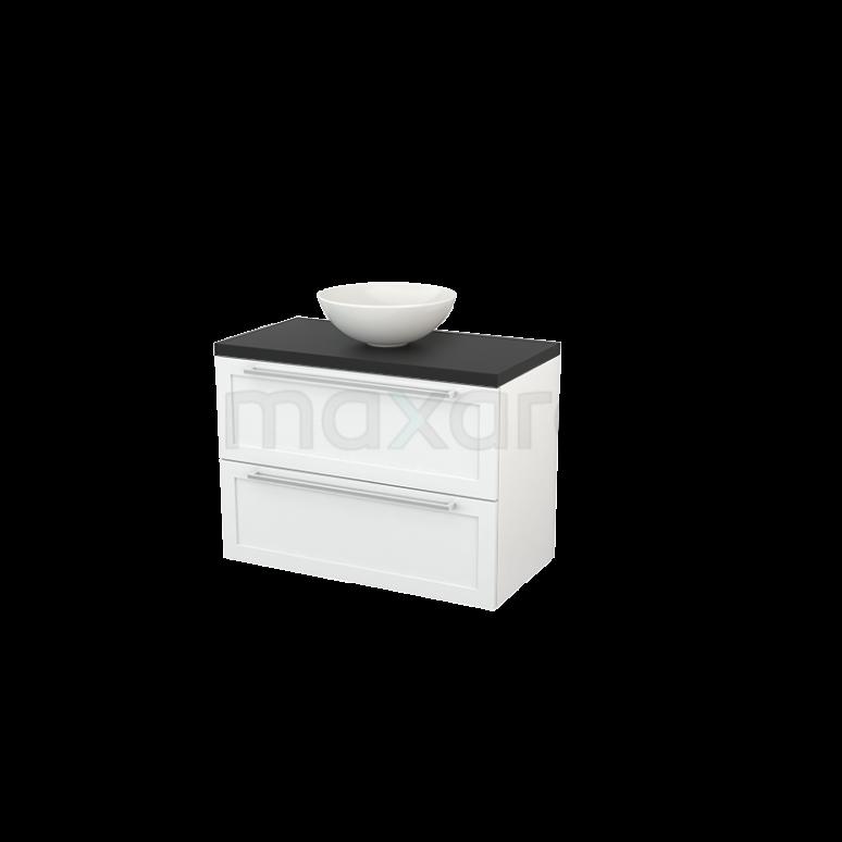 Badkamermeubel voor Waskom 90cm Hoogglans Wit Kader Modulo+ Plato Carbon Blad
