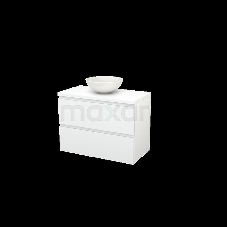 Maxaro Modulo+ Plato BMK001828 Badkamermeubel voor Waskom 90cm Modulo+ Plato Hoogglans Wit 2 Lades Greeploos