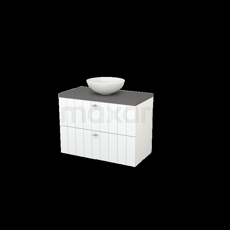 Badkamermeubel voor Waskom 90cm Mat Wit Lamel Modulo+ Plato Basalt Blad