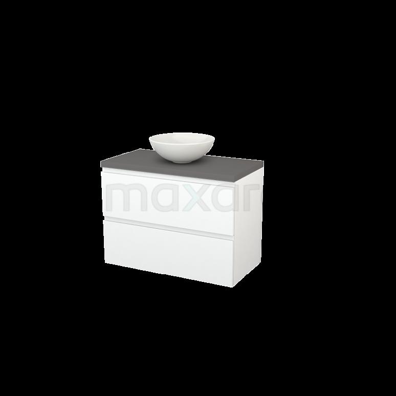 Badkamermeubel voor Waskom 90cm Mat Wit Greeploos Modulo+ Plato Basalt Blad