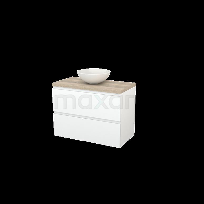 Maxaro Modulo+ Plato BMK001855 Badkamermeubel voor Waskom 90cm Mat Wit Greeploos Modulo+ Plato Eiken Blad