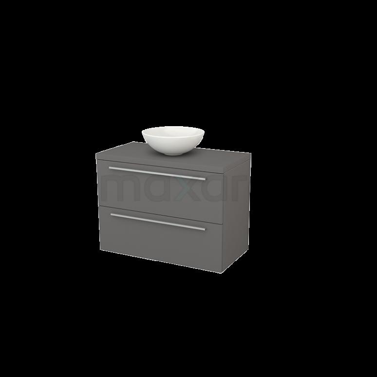 Badkamermeubel voor Waskom 90cm Modulo+ Plato Basalt 2 Lades Vlak