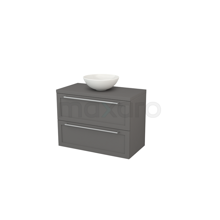 Badkamermeubel voor Waskom 90cm Modulo+ Plato Basalt 2 Lades Kader