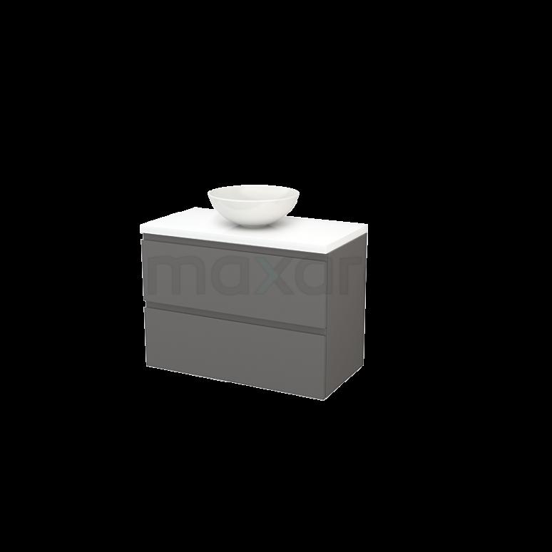 Badkamermeubel voor Waskom 90cm Basalt Greeploos Modulo+ Plato Hoogglans Wit Blad