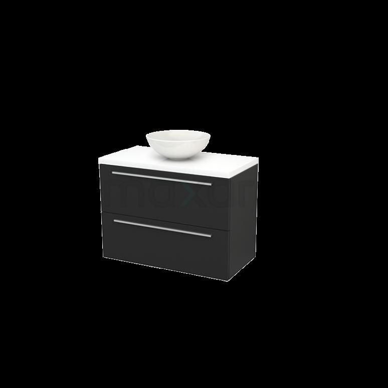 Maxaro Modulo+ Plato BMK001871 Badkamermeubel voor Waskom 90cm Carbon Vlak Modulo+ Plato Hoogglans Wit Blad