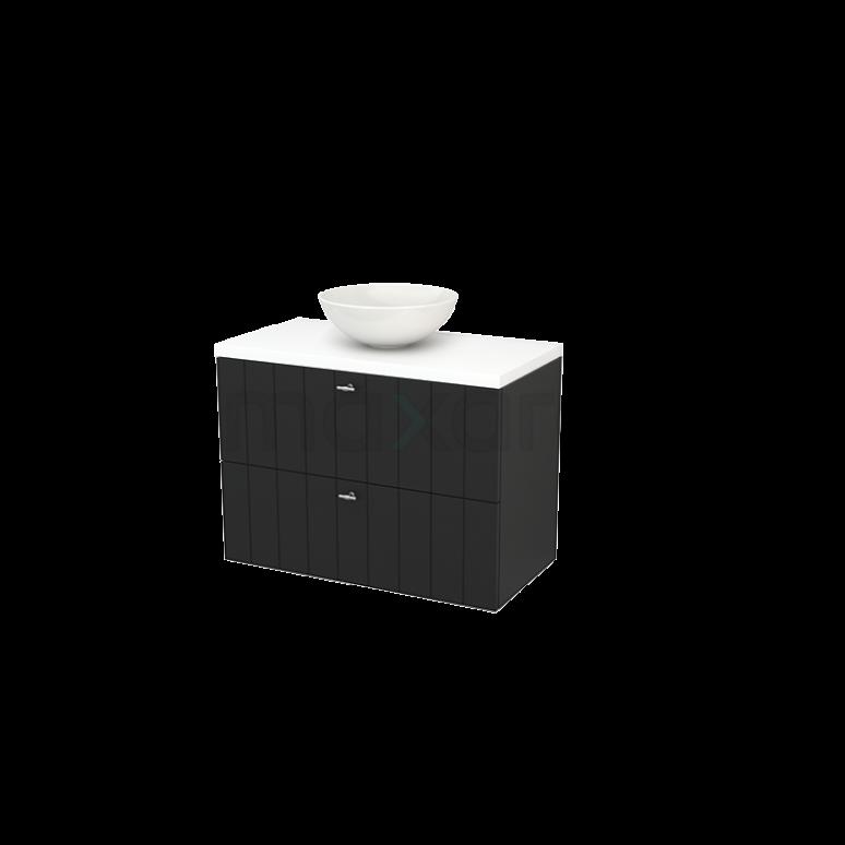 Badkamermeubel voor Waskom 90cm Carbon Lamel Modulo+ Plato Mat Wit Blad