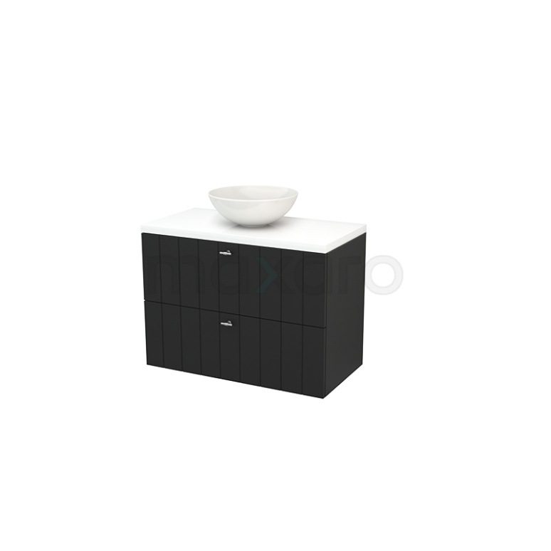 Badkamermeubel voor Waskom 90cm Carbon Lamel Modulo+ Plato Hoogglans Wit Blad