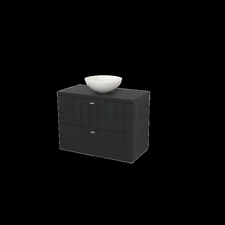 Maxaro Modulo+ Plato BMK001875 Badkamermeubel voor Waskom 90cm Modulo+ Plato Carbon 2 Lades Lamel