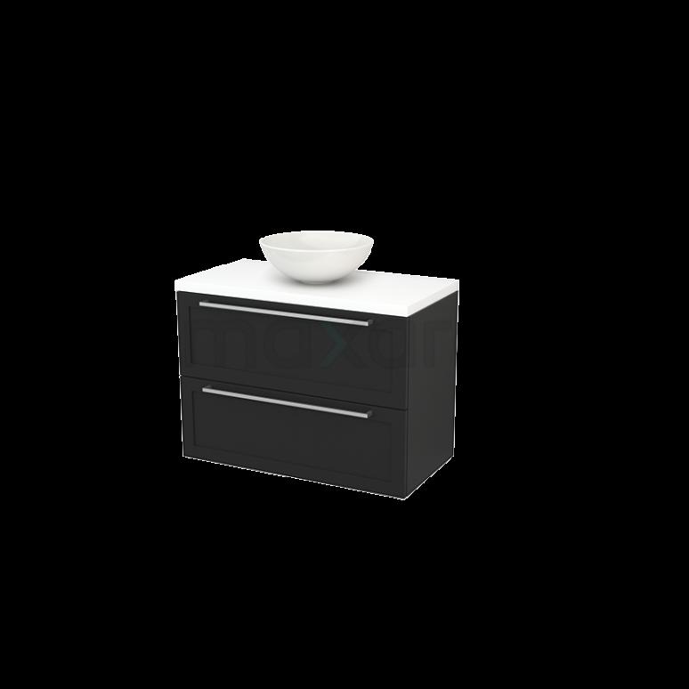 Badkamermeubel voor Waskom 90cm Carbon Kader Modulo+ Plato Mat Wit Blad