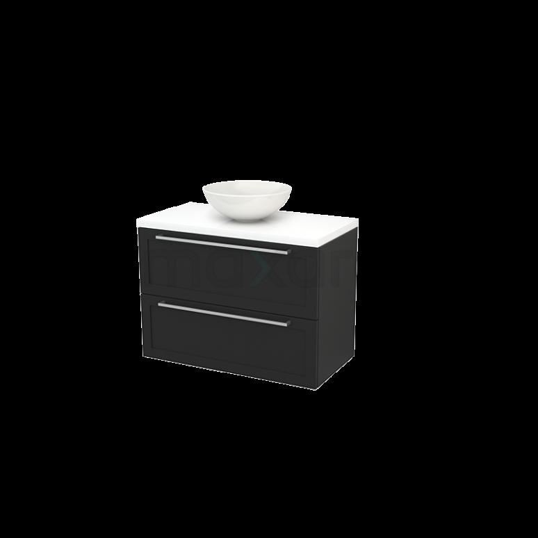 Maxaro Modulo+ Plato BMK001877 Badkamermeubel voor Waskom 90cm Carbon Kader Modulo+ Plato Hoogglans Wit Blad