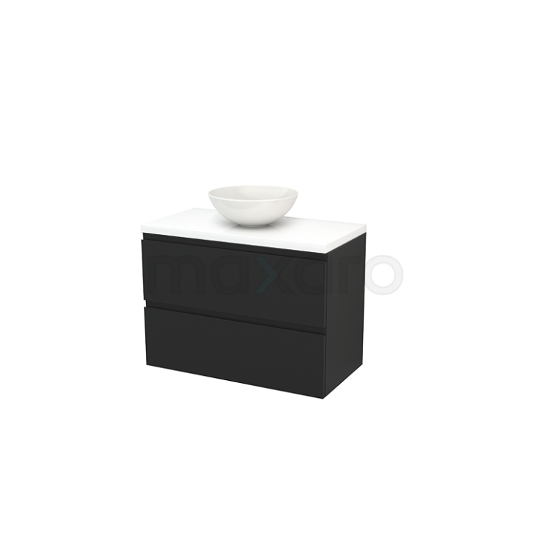 Maxaro Modulo+ Plato BMK001880 Badkamermeubel voor Waskom 90cm Carbon Greeploos Modulo+ Plato Hoogglans Wit Blad