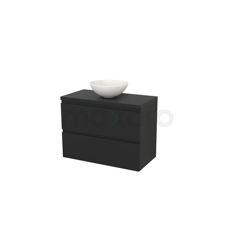 Badkamermeubel voor Waskom 90cm Modulo+ Plato Carbon 2 Lades Greeploos