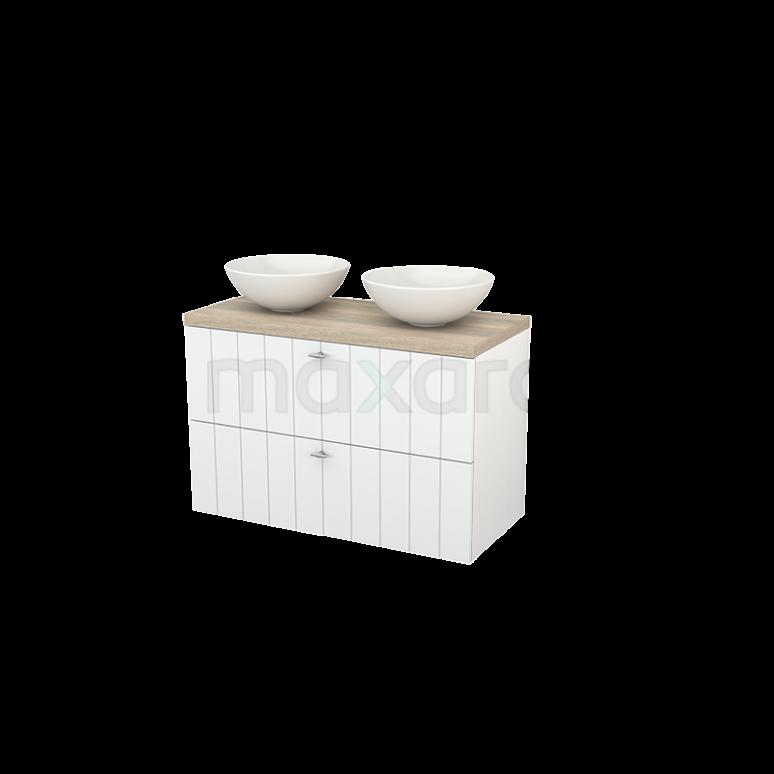 Badkamermeubel voor Waskom 100cm Modulo+ Plato Hoogglans Wit 2 Lades Lamel Eiken Blad