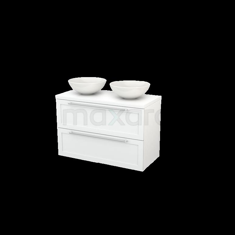 Badkamermeubel voor Waskom 100cm Modulo+ Plato Hoogglans Wit 2 Lades Kader