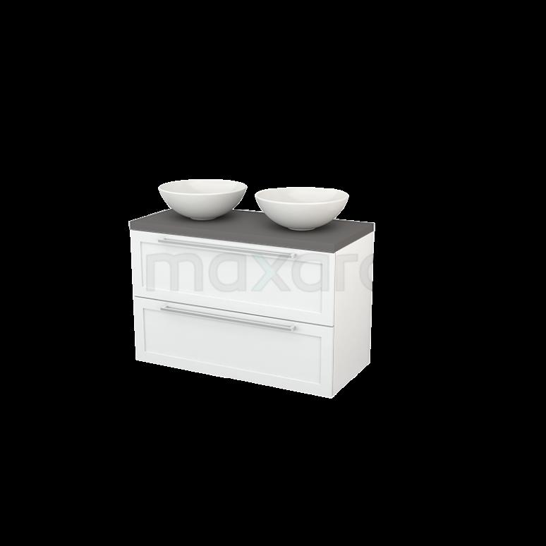 Badkamermeubel voor Waskom 100cm Modulo+ Plato Hoogglans Wit 2 Lades Kader Basalt Blad