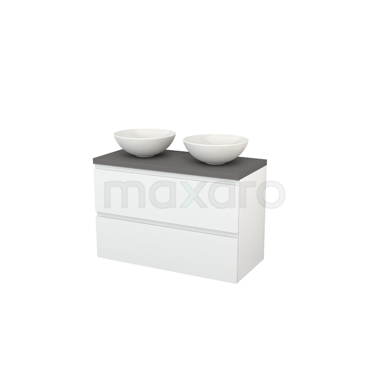 Badkamermeubel voor Waskom 100cm Modulo+ Plato Hoogglans Wit 2 Lades Greeploos Basalt Blad