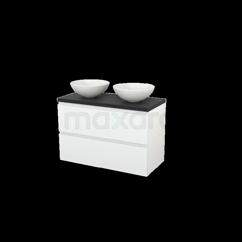 Badkamermeubel voor Waskom 100cm Modulo+ Plato Hoogglans Wit 2 Lades Greeploos Carbon Blad