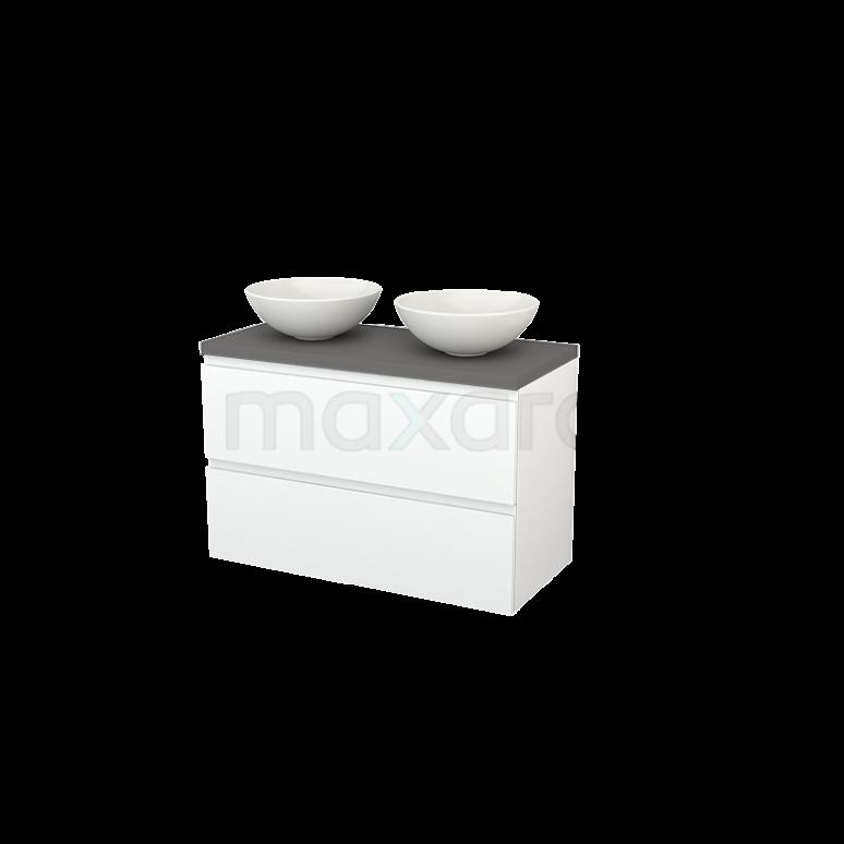 Badkamermeubel voor Waskom 100cm Modulo+ Plato Mat Wit 2 Lades Greeploos Basalt Blad