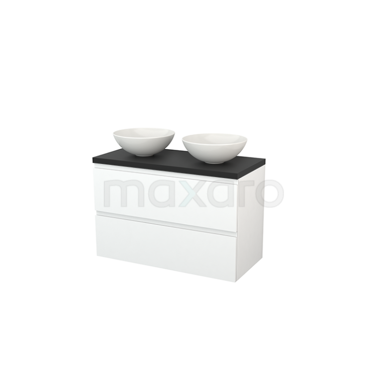 Badkamermeubel voor Waskom 100cm Modulo+ Plato Mat Wit 2 Lades Greeploos Carbon Blad